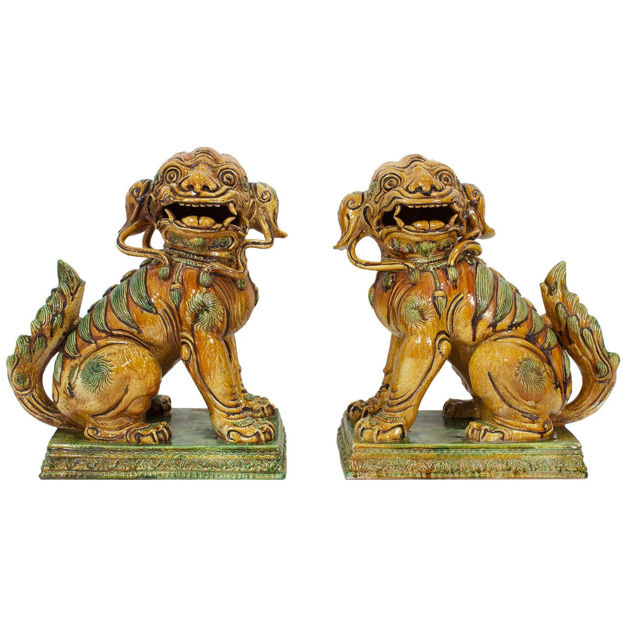 Large Pair of Majolica Foo Dogs For Sale