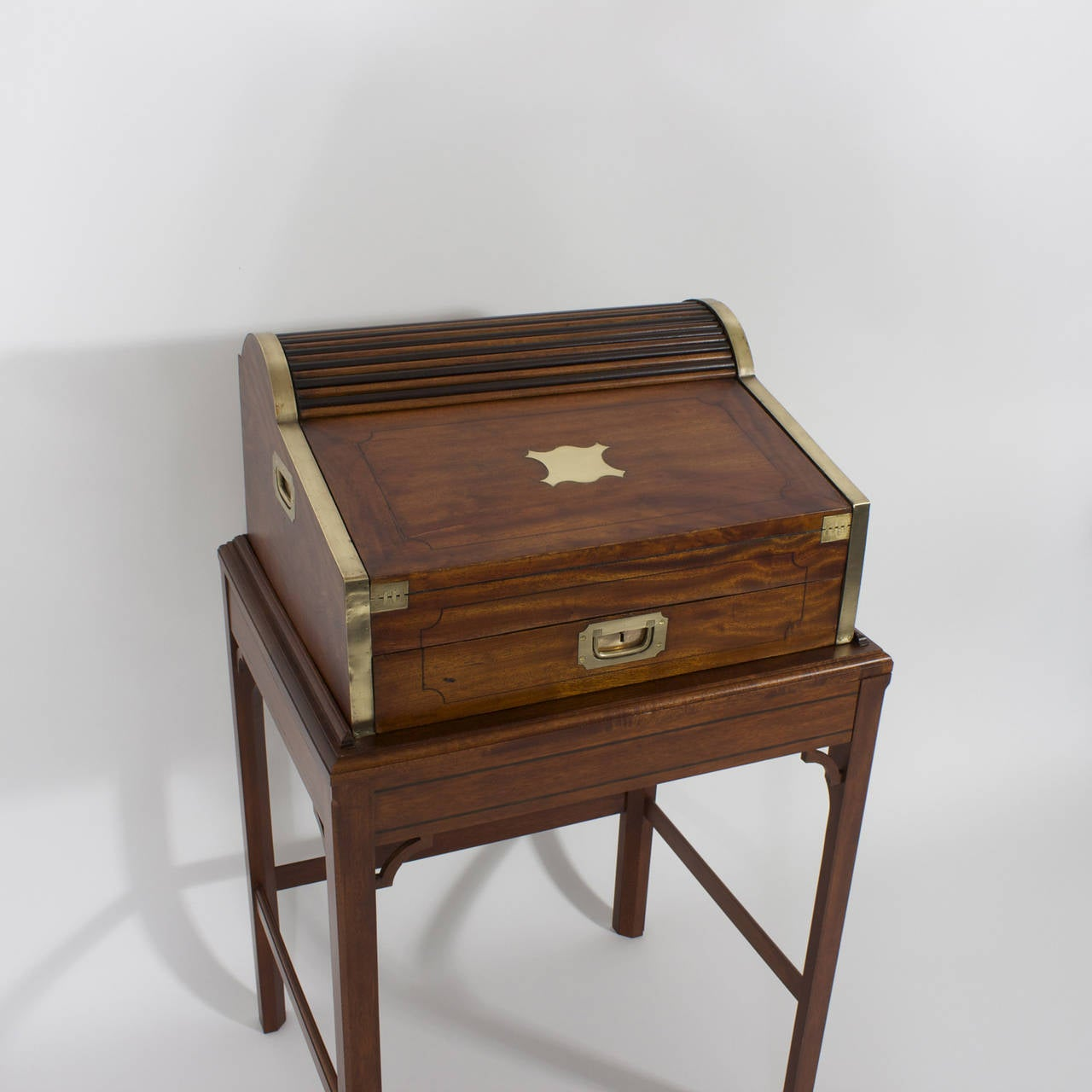 English Campaign Roll Top Desk on Stand For Sale