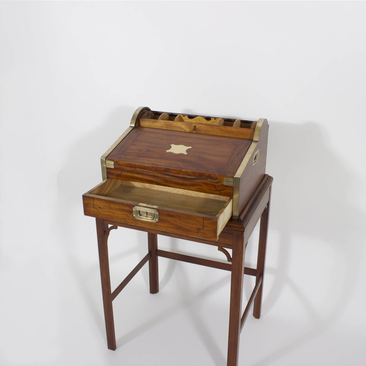 19th Century Campaign Roll Top Desk on Stand For Sale