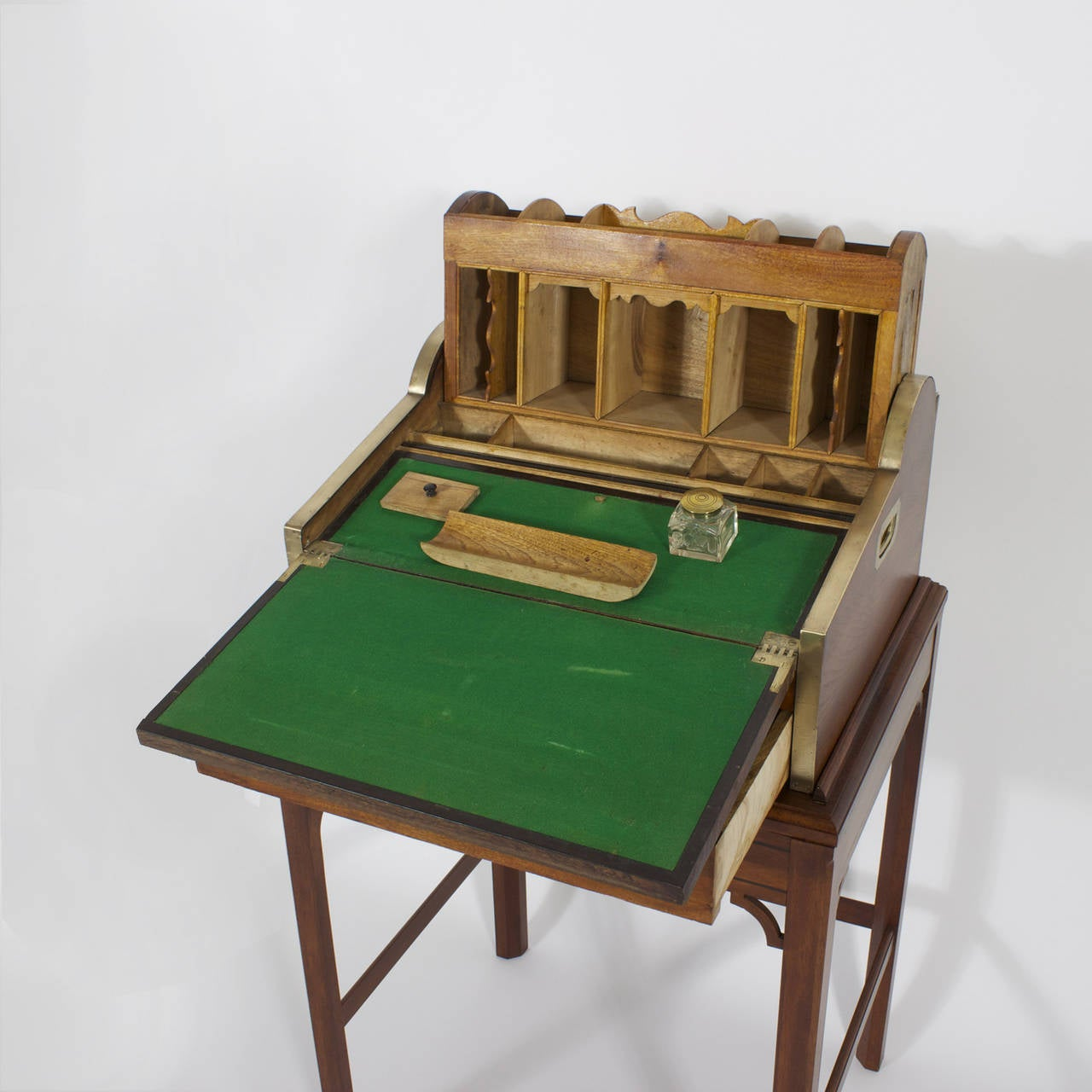Campaign Roll Top Desk on Stand For Sale 1