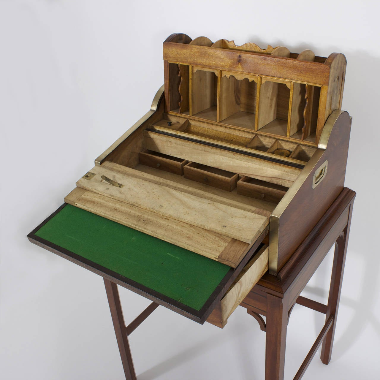 Campaign Roll Top Desk on Stand For Sale 2