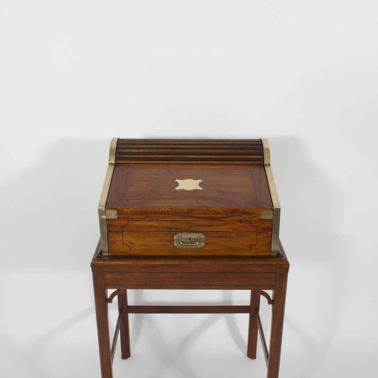 Campaign Roll Top Desk on Stand For Sale 3