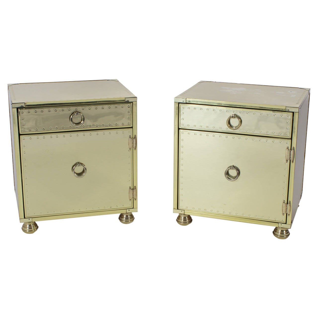 Pair of Mid-Century Brass-Plated Campaign Style Nightstands or End Tables