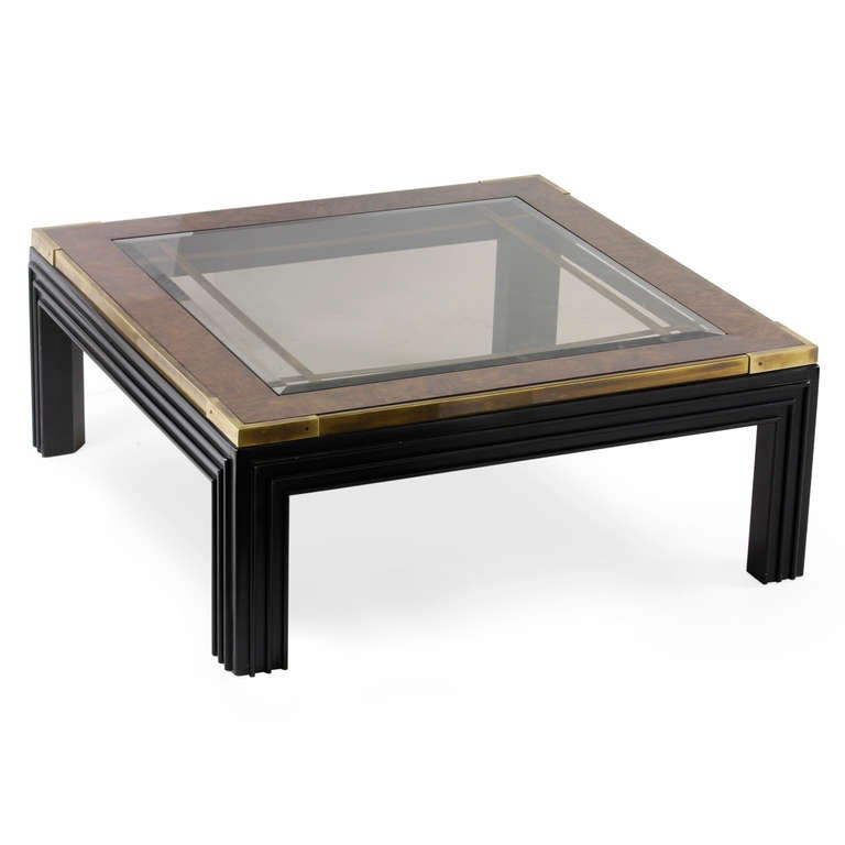 Large square glass top coffee table with molded legs at 1stdibs Glass top for coffee table