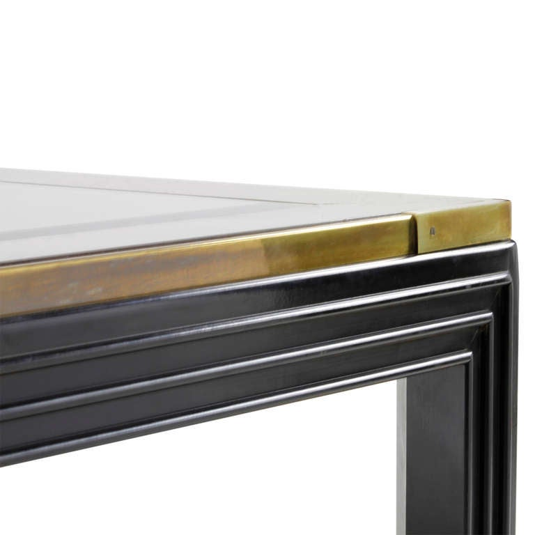 Large Square Coffee Table With Glass Top: Large Square Glass Top Coffee Table With Molded Legs At