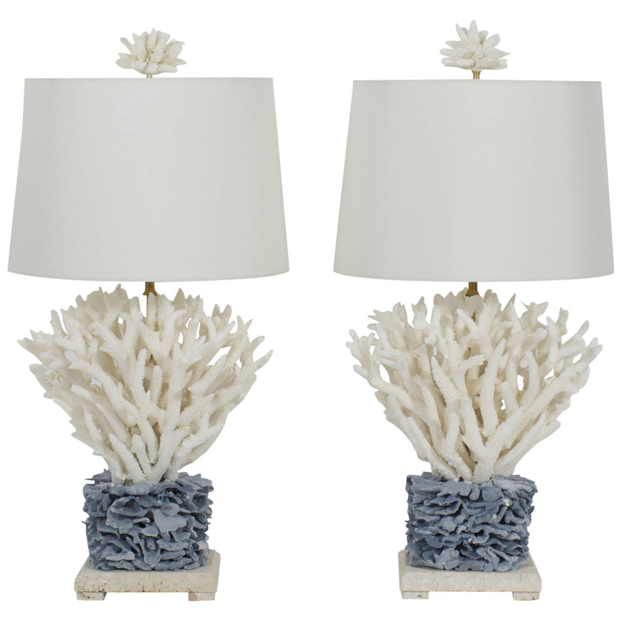 Pair Of Blue And White Coral Lamps On Coquina Stone Bases For Sale