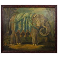 Large Oil on Canvas Painting of an Attired Elephant Signed Skilling