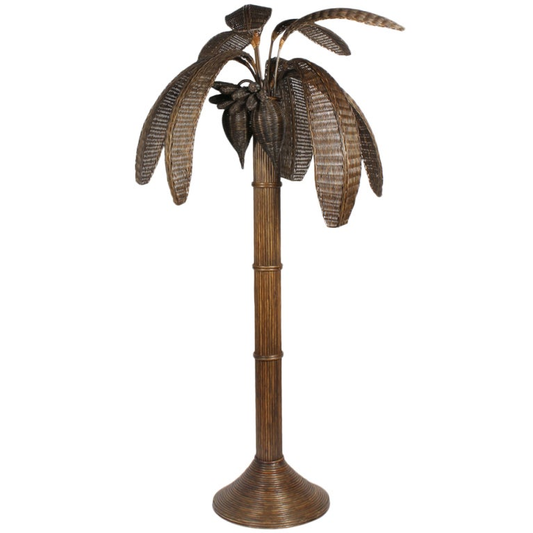 rattan palm tree floor lamp at 1stdibs. Black Bedroom Furniture Sets. Home Design Ideas