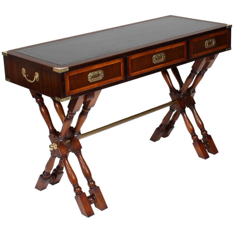 Double X Base Campaign Style Writing Desk at 1stdibs