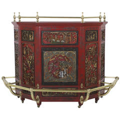 Early to Mid 20th C. Carved Wood and Lacquer Stand Up Chinese Bar