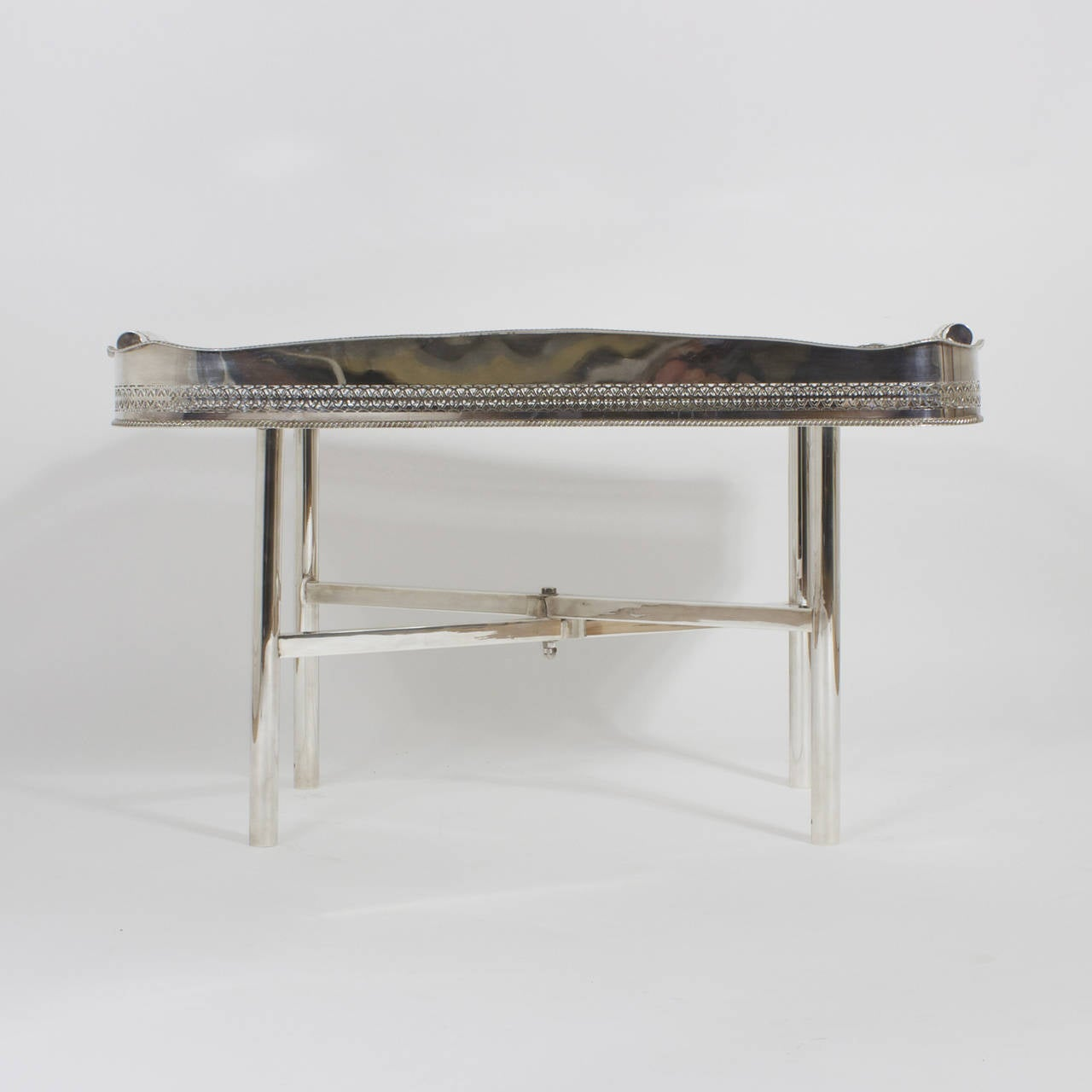 Georgian Faux Tortoiseshell and Silver Plated Tray Table For Sale