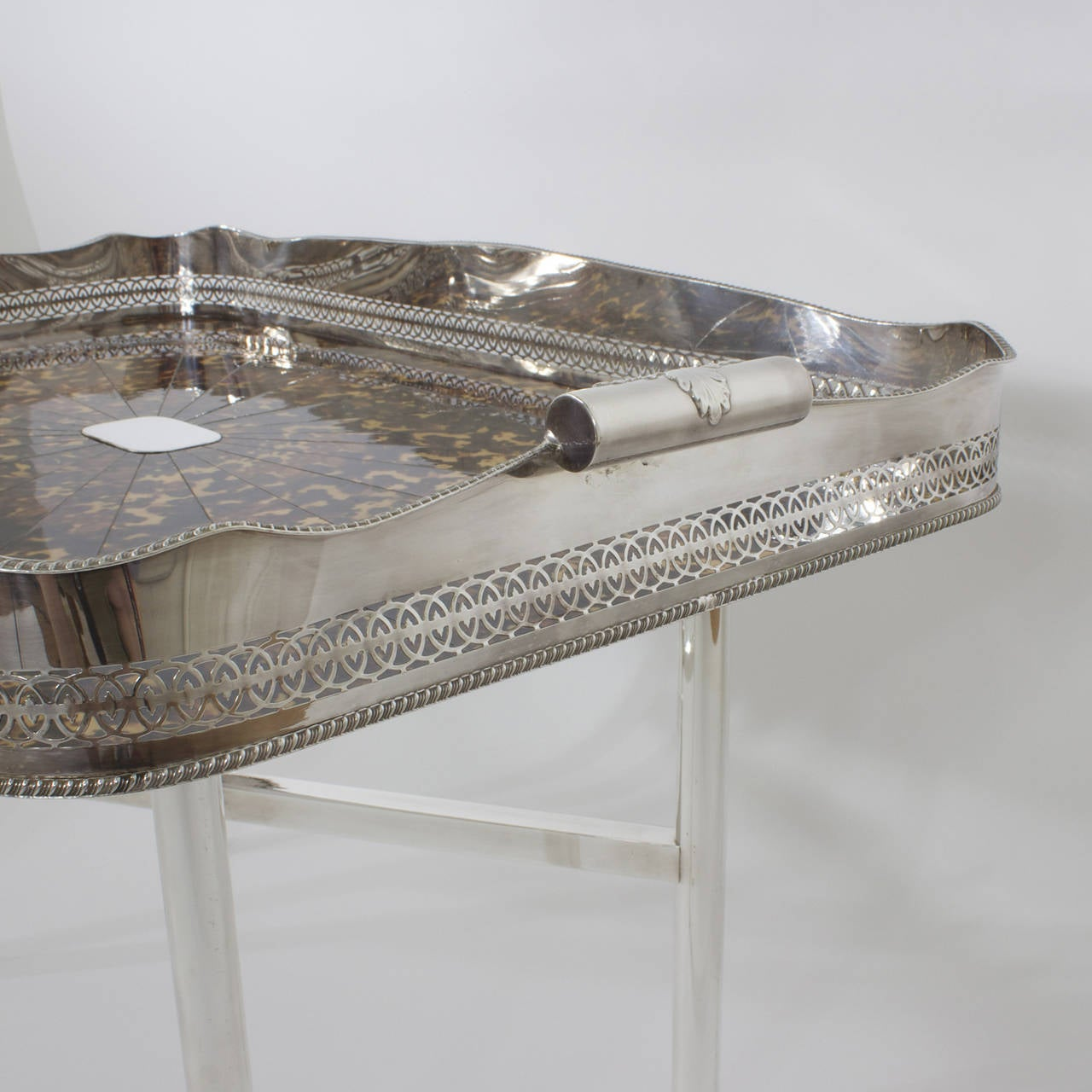 English Faux Tortoiseshell and Silver Plated Tray Table For Sale
