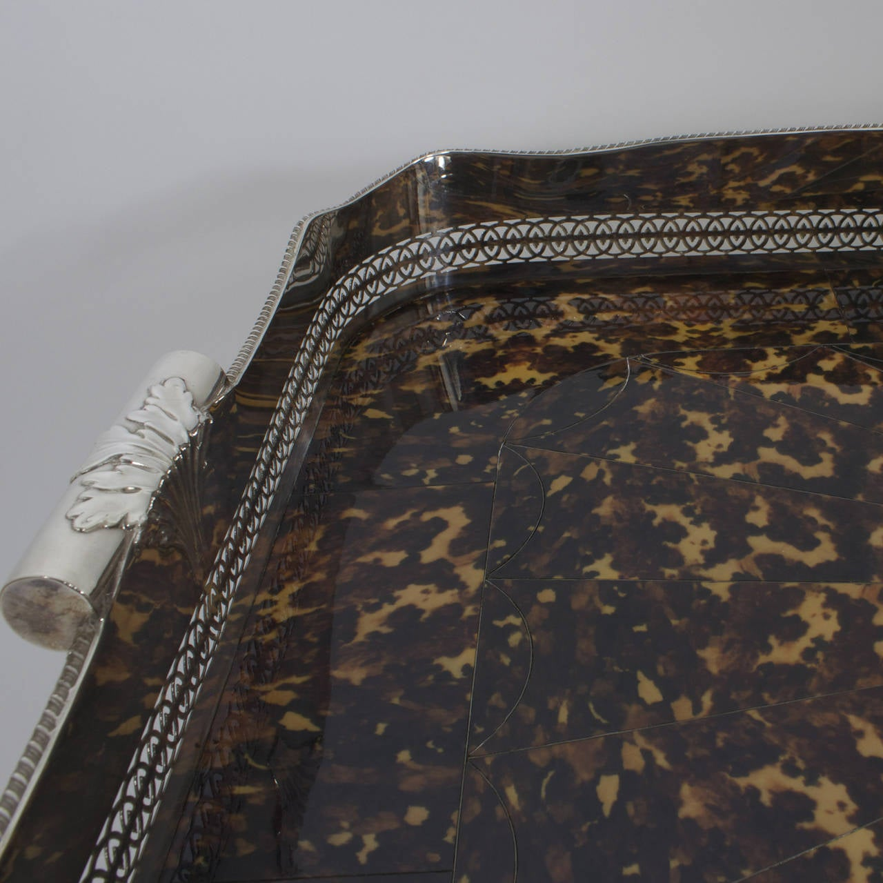 20th Century Faux Tortoiseshell and Silver Plated Tray Table For Sale