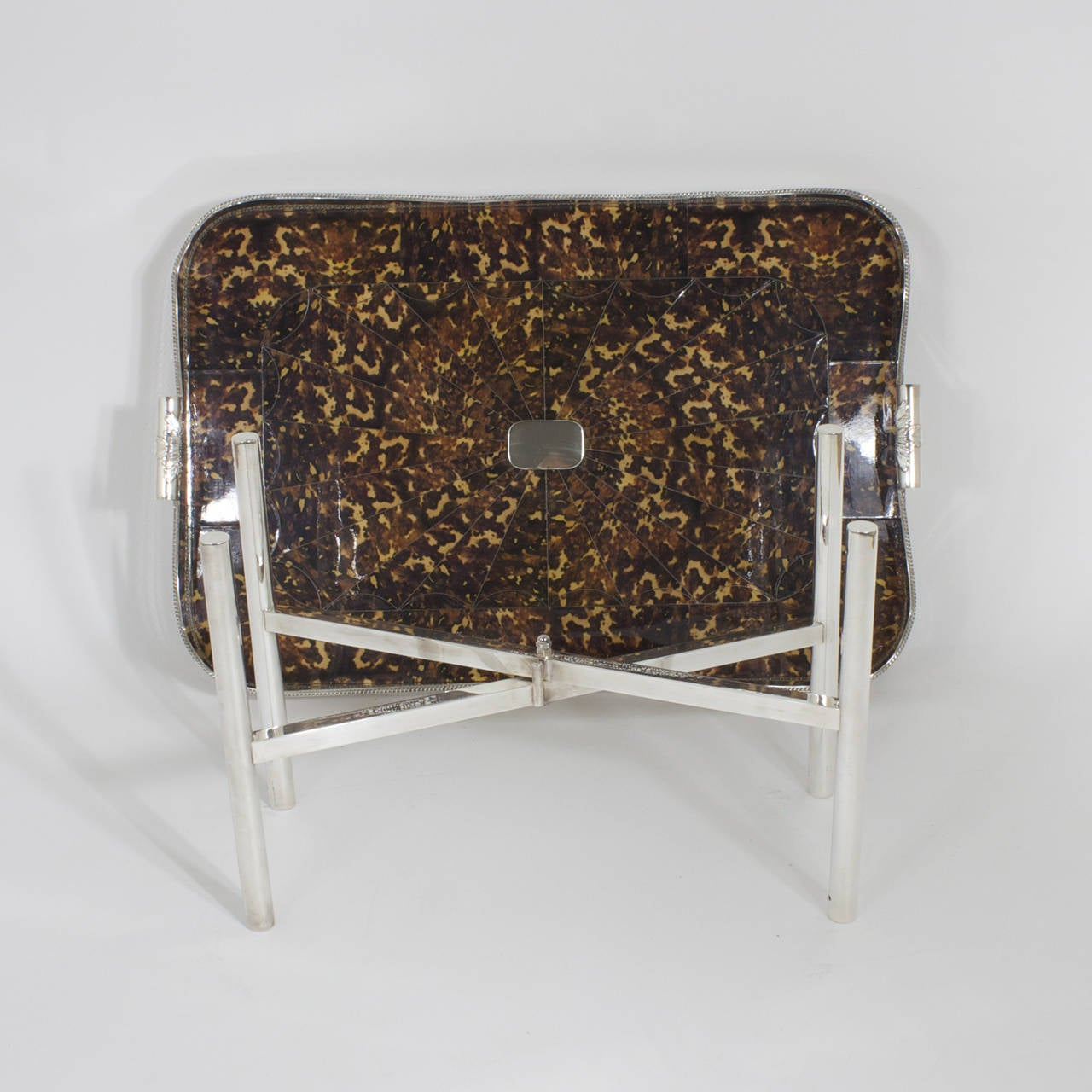 Faux Tortoiseshell and Silver Plated Tray Table For Sale 3