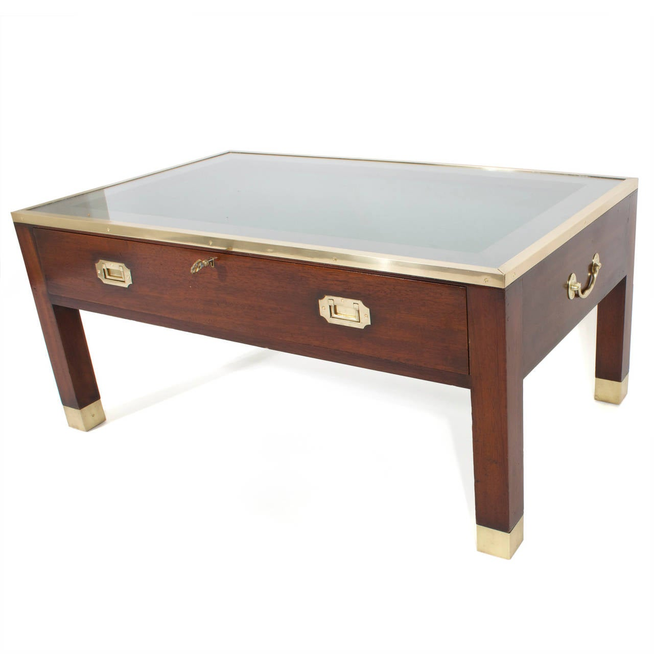 Campaign style cocktail or coffee table with display case for Display coffee table