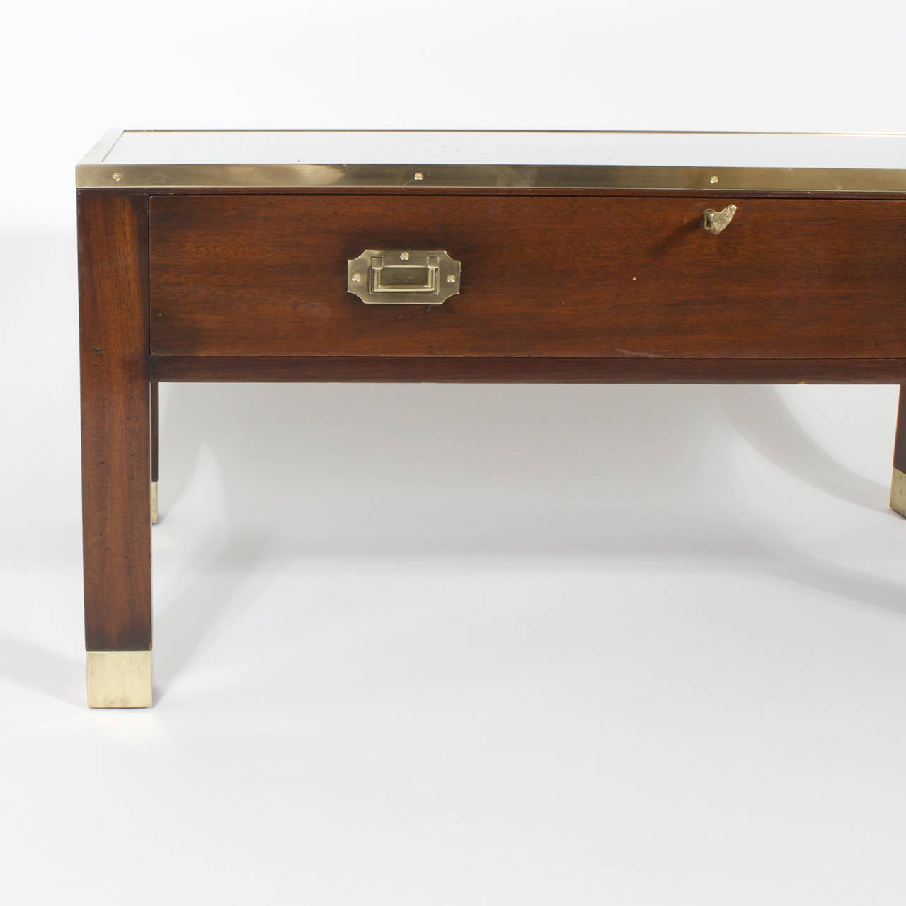 Campaign Style Cocktail Or Coffee Table With Display Case For Sale At 1stdibs