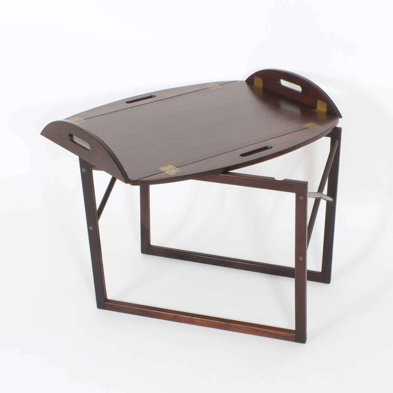 Coffee Table Tray Contemporary: Mid-Century Rosewood Tray On Stand Or Cocktail Table For