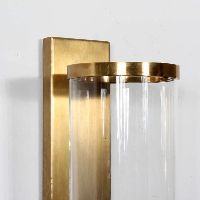 Cylinder Glass Wall Sconces : Pair of Modern Cylinder Glass and Brass Wall Sconces at 1stdibs