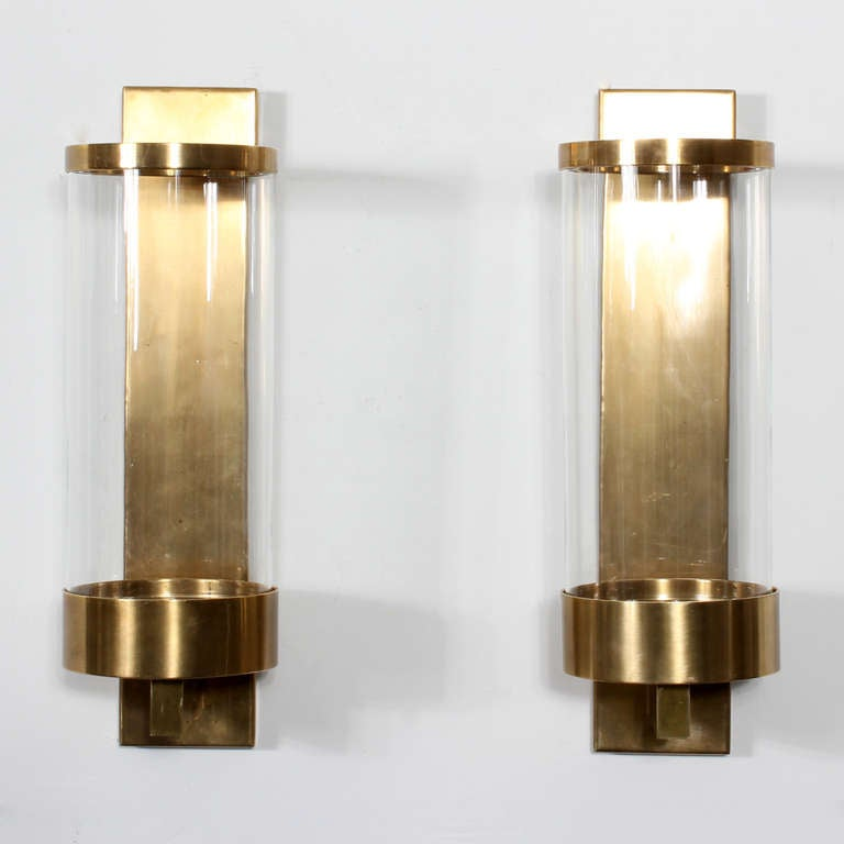 Contemporary Wall Sconces Glass : Pair of Modern Cylinder Glass and Brass Wall Sconces at 1stdibs