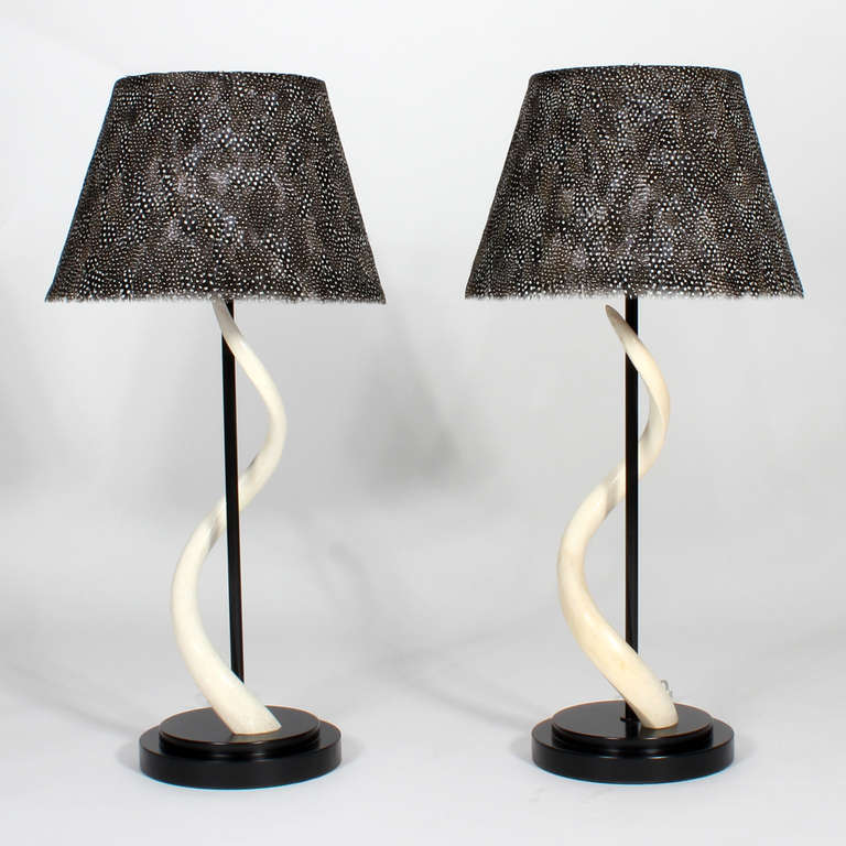 Pair of kudu horn table lamps with feather lamp shades at 1stdibs these are oh so attractive lamps kudo horns cleverly mounted around ebonized wood rods aloadofball Gallery