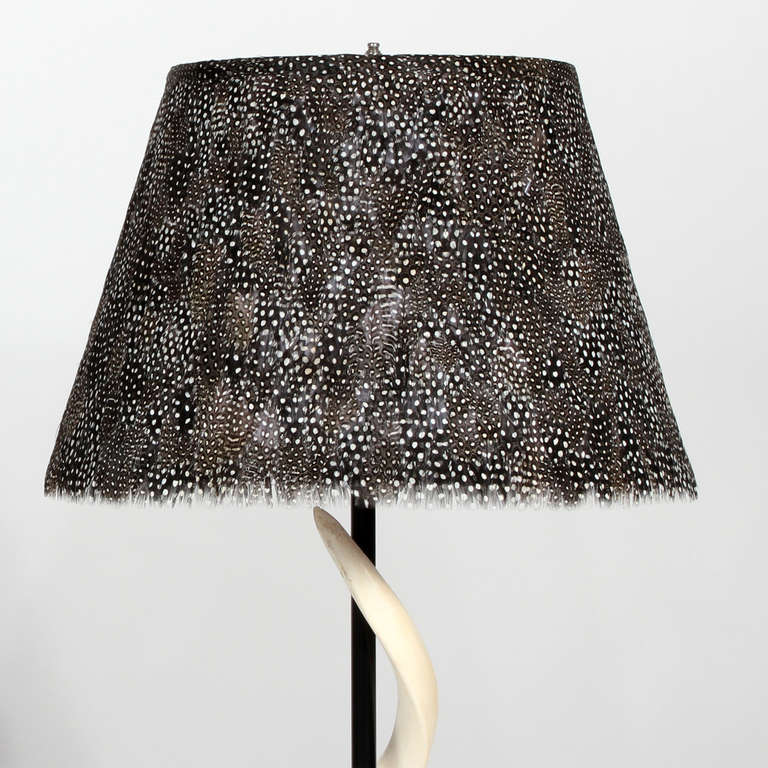 Pair of kudu horn table lamps with feather lamp shades at 1stdibs pair of kudu horn table lamps with feather lamp shades in excellent condition for sale in aloadofball Image collections