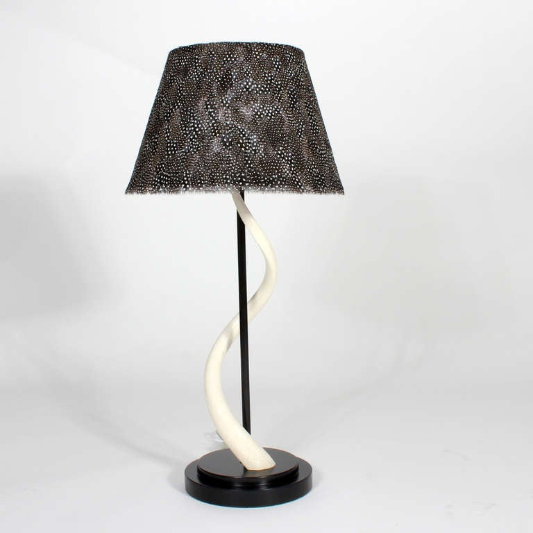Pair Of Kudu Horn Table Lamps With Feather Lamp Shades At