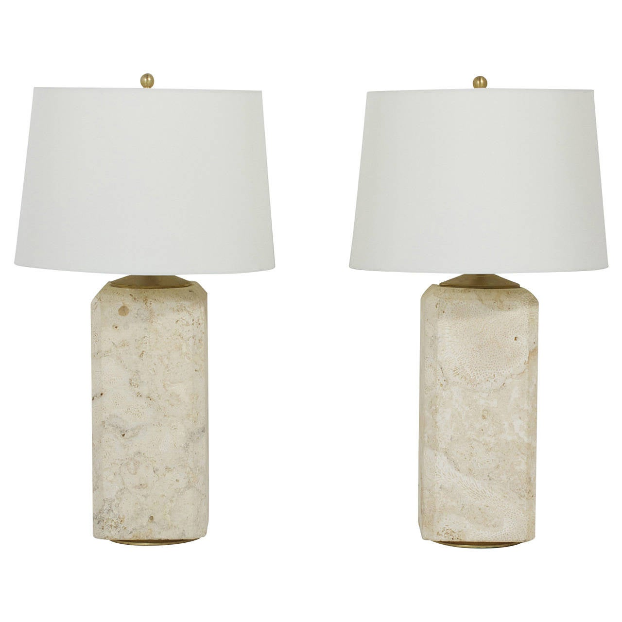 Pair of Mid-Century Coquina Stone Table Lamps at 1stdibs