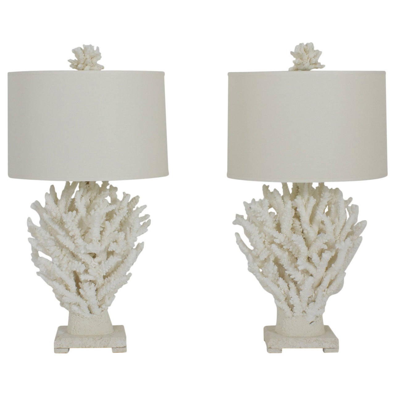 pair of custom white branch coral lamps at 1stdibs. Black Bedroom Furniture Sets. Home Design Ideas