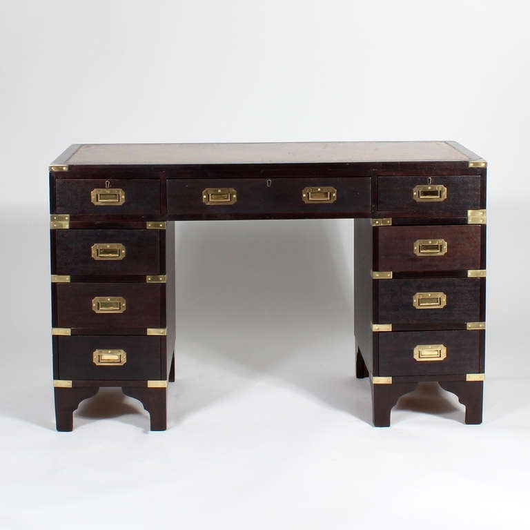 ThreePiece LeatherTop Campaign Style Desk For Sale at 1stdibs