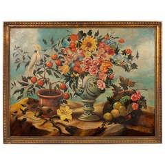 Oil On Canvas Painting of a Flora and Fauna with Parrot by Skilling