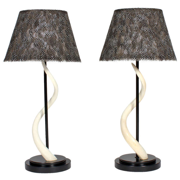 Pair of kudu horn table lamps with feather lamp shades at 1stdibs pair of kudu horn table lamps with feather lamp shades for sale mozeypictures Choice Image