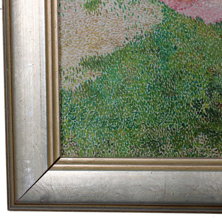 Oil On Canvas Pointillism Painting Of Naked Women For Sale -4863