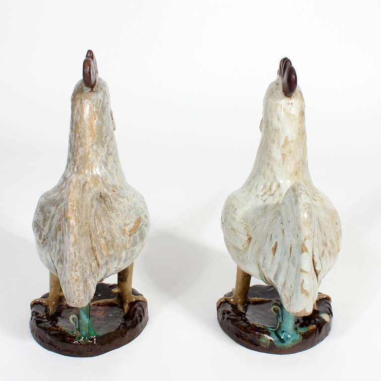 Pair of French Country Terra Cotta Folk Art Pottery Roosters In Excellent Condition For Sale In Palm Beach, FL