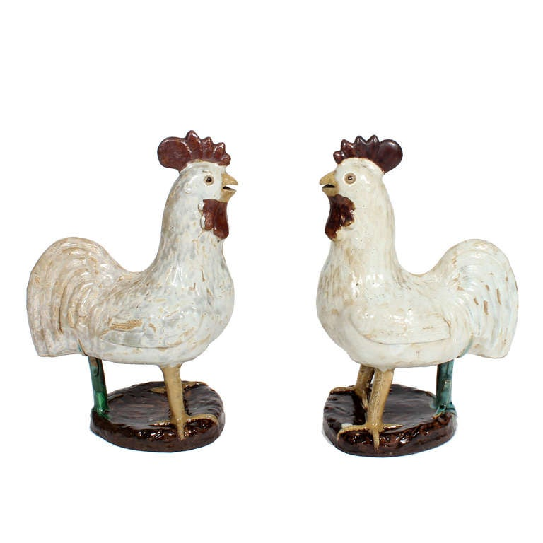 French Provincial Pair of French Country Terra Cotta Folk Art Pottery Roosters For Sale