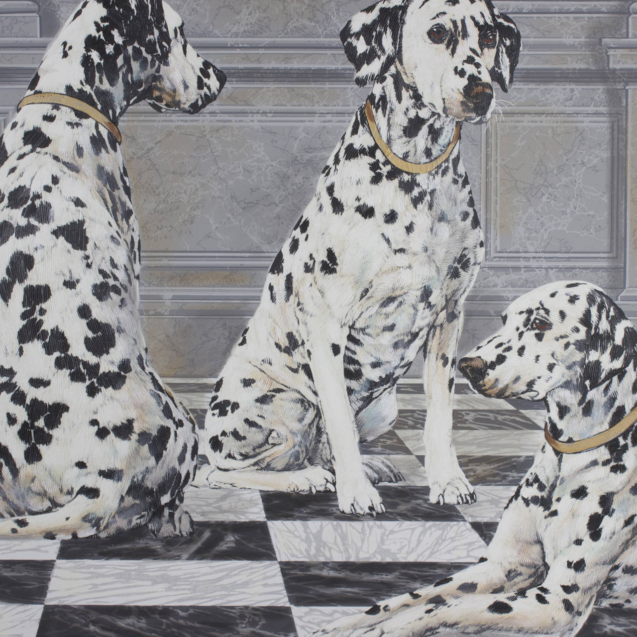 This Dalmatian painting has a modernist approach to an age old tradition of pet dogs in paintings. A giant painting on canvas of three Dalmatians in a Gustavian palette while touching on several influences. The dogs have an added technic of texture