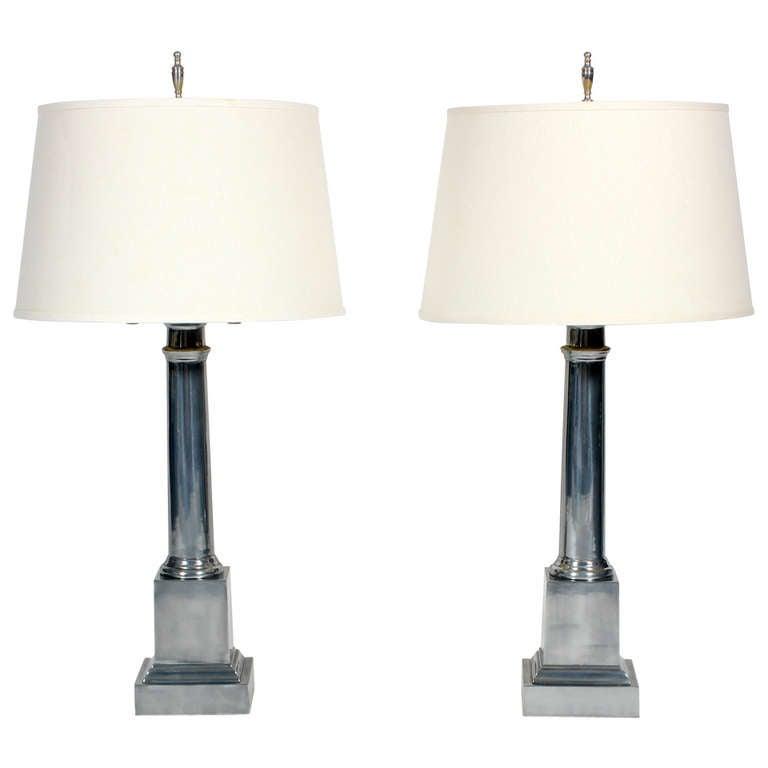 Pair of Aluminum Warren Kessler Classic Form Lamps