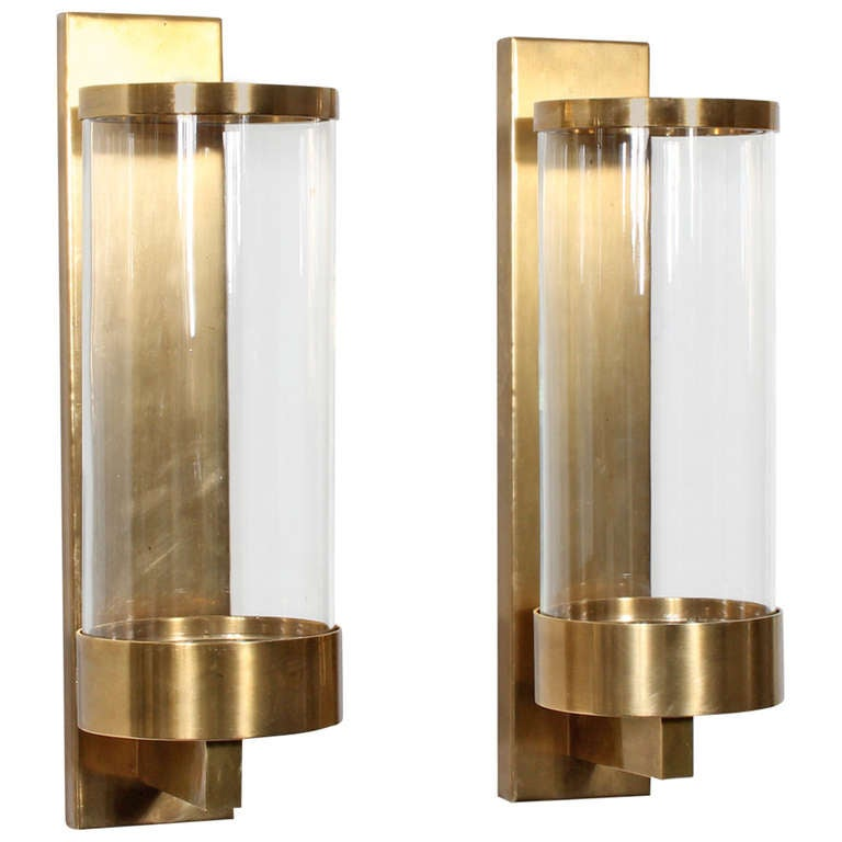 Pair of Modern Cylinder Glass and Brass Wall Sconces at 1stdibs