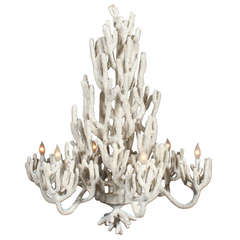 Large Six-Arm Faux Coral Chandelier