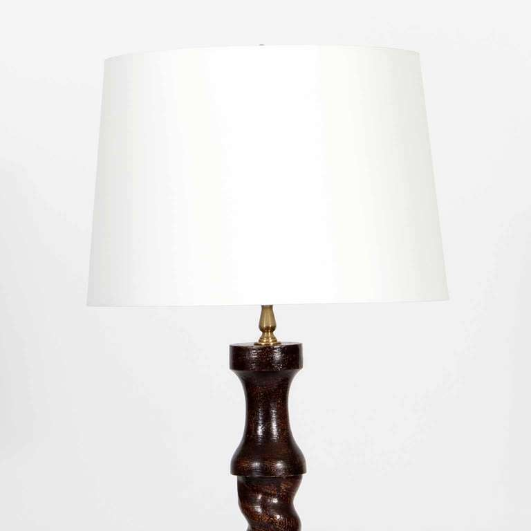 Pair Of Carved Wood Barley Twist Floor Lamps At 1stdibs