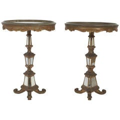 Pair of Round Mirrored Italian Tables