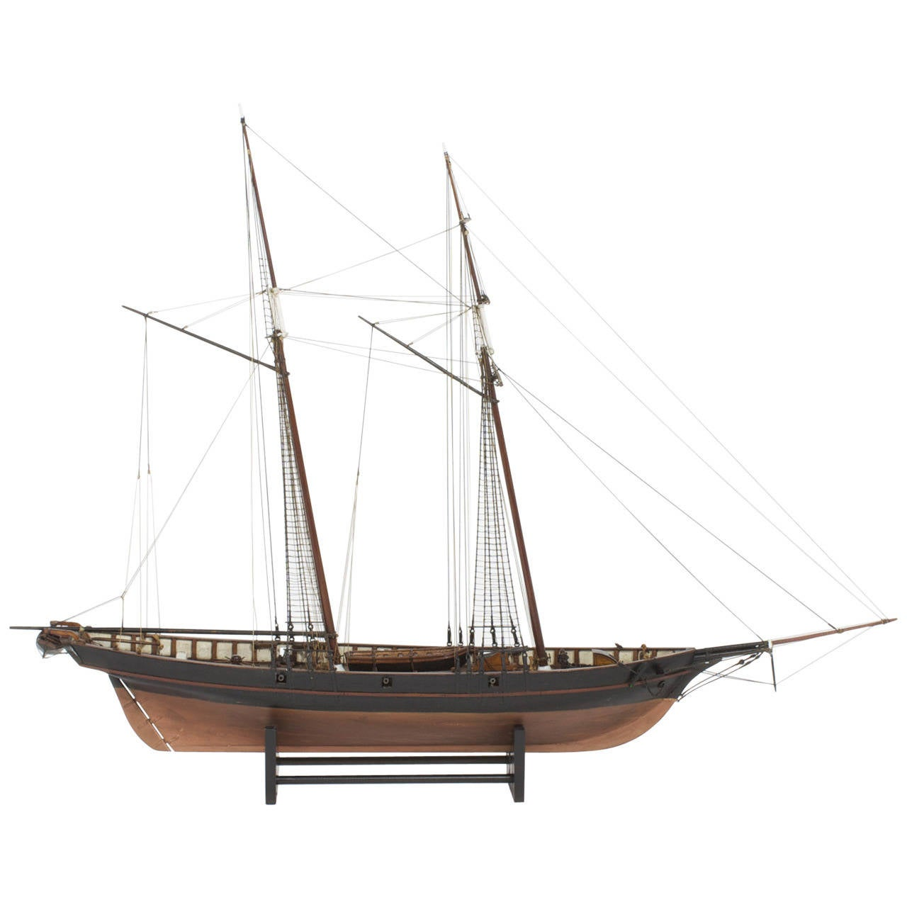 Mahogany Schooner Ship or Boat Model For Sale
