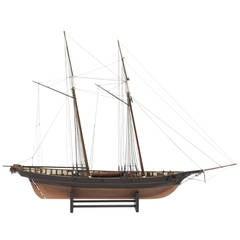 Mahogany Schooner Ship or Boat Model