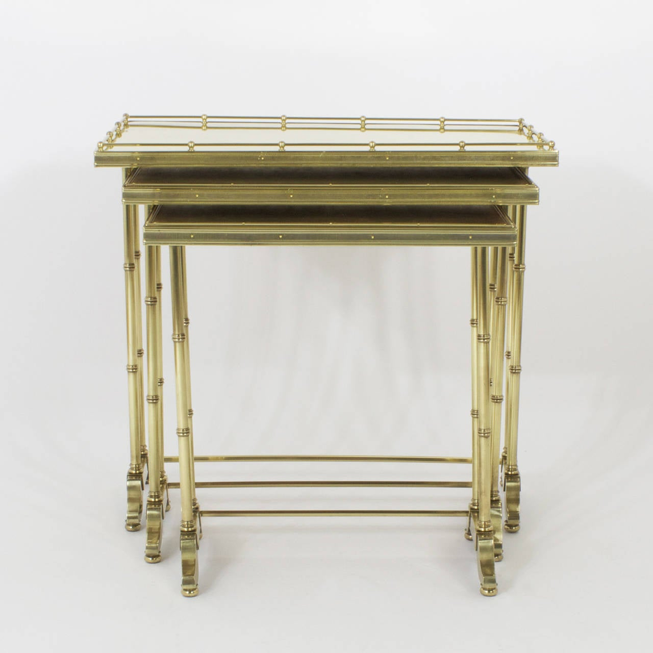 American Mid-Century Bronze Nest of Tables For Sale