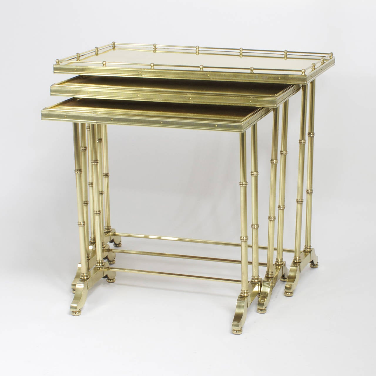 Chinoiserie Mid-Century Bronze Nest of Tables For Sale