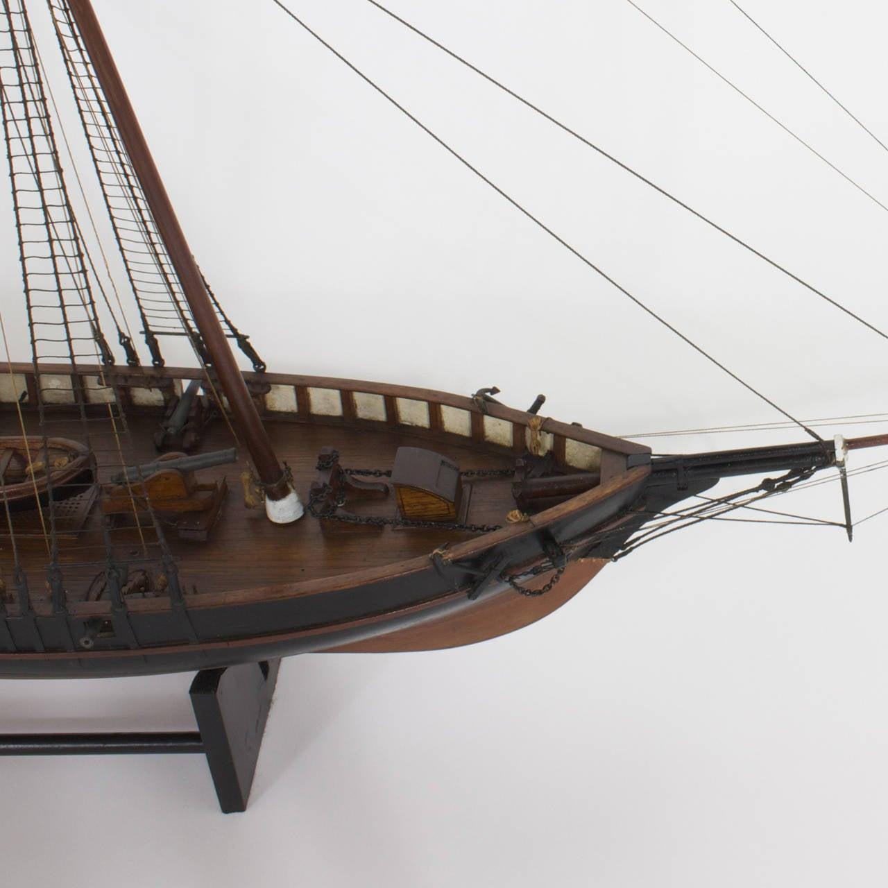 English Mahogany Schooner Ship or Boat Model For Sale
