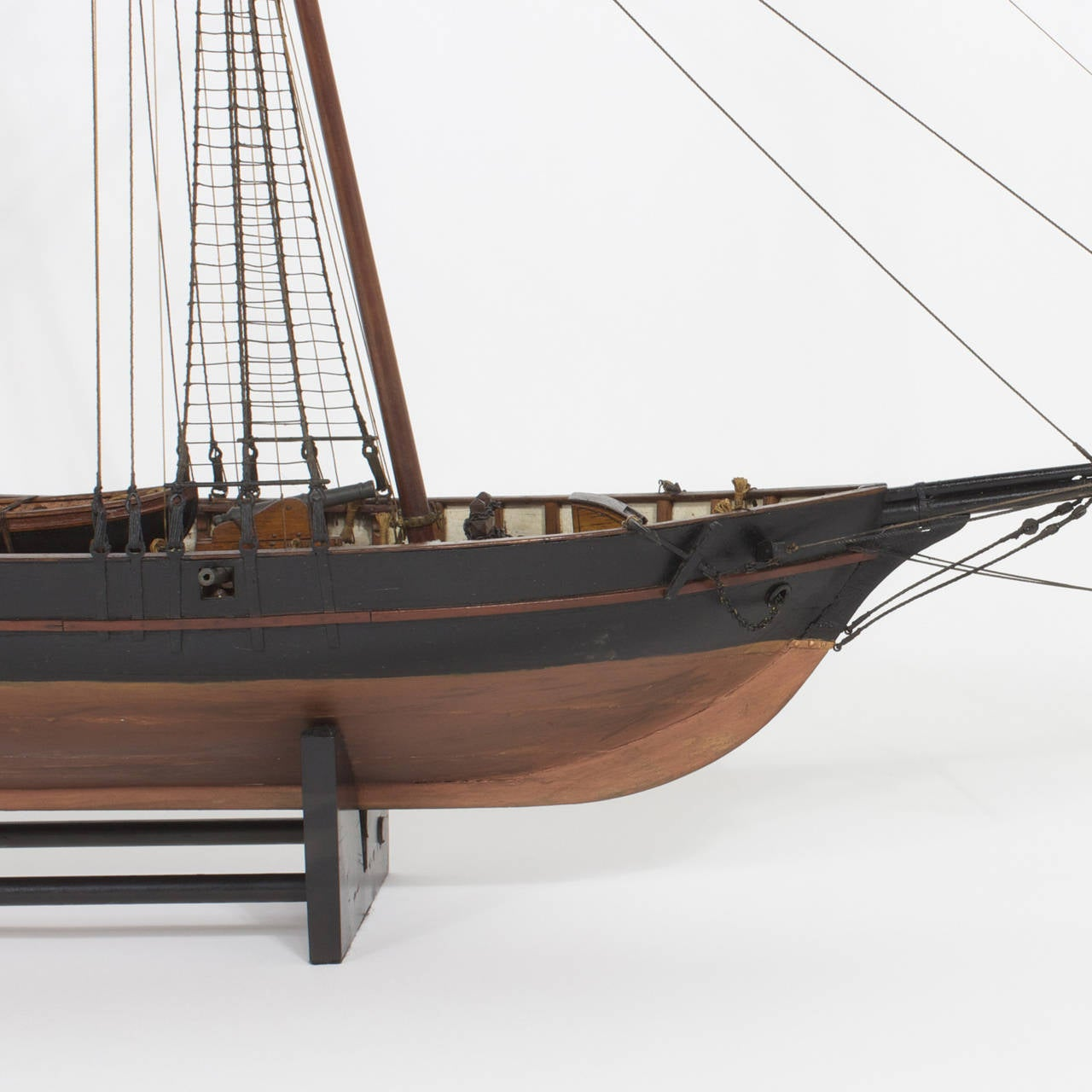 British Colonial Mahogany Schooner Ship or Boat Model For Sale