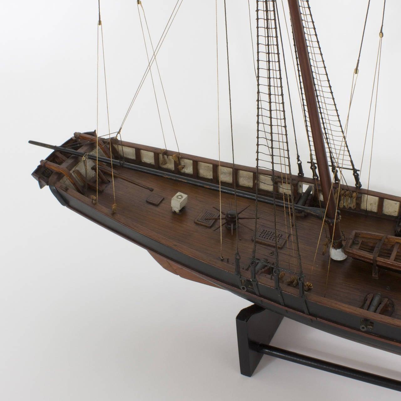 19th Century Mahogany Schooner Ship or Boat Model For Sale