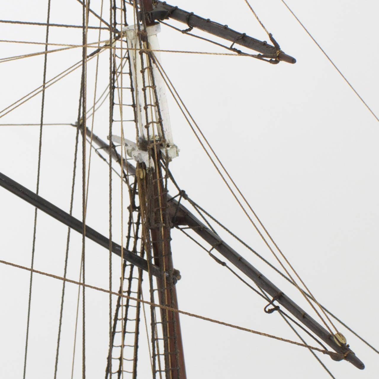 Mahogany Schooner Ship or Boat Model For Sale 1
