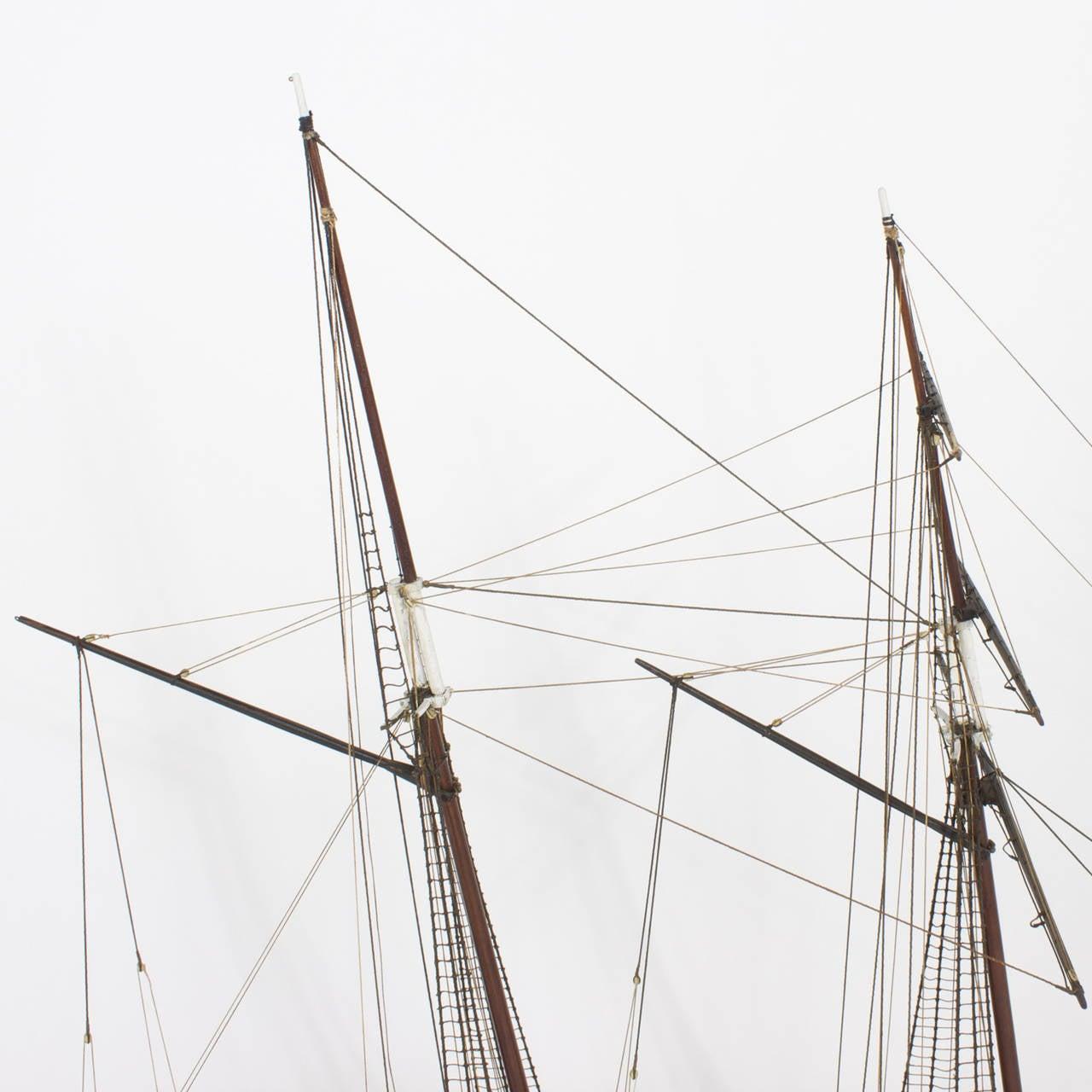Mahogany Schooner Ship or Boat Model For Sale 2