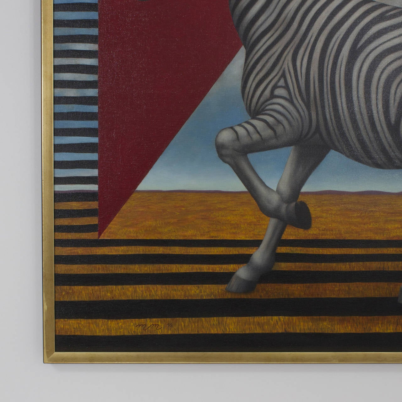 Modern Acrylic Zebra Painting on Canvas For Sale